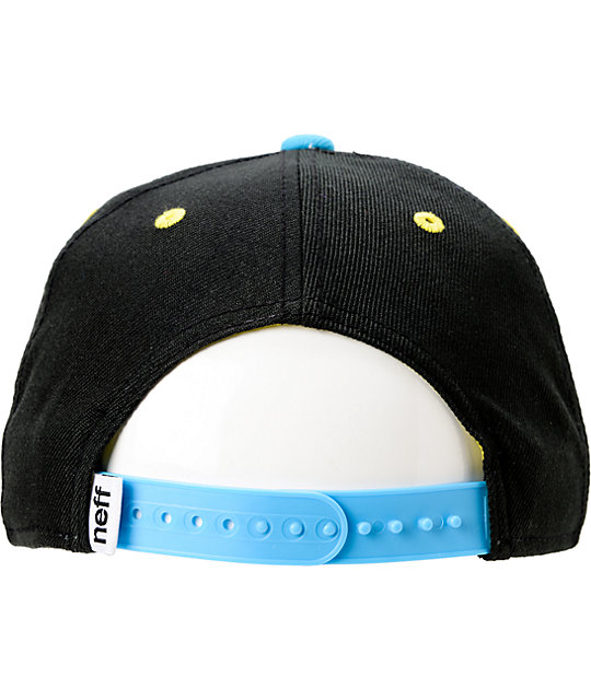 Neff Daily Black, Cyan, & Yellow Snapback Hat
