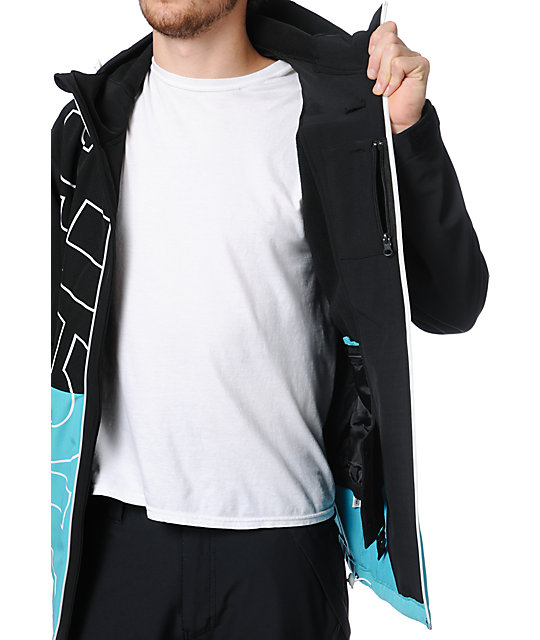 Neff Daily Black & Teal 10K Technical Softshell Snowboard Jacket