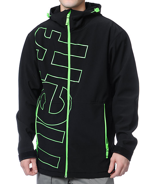 Neff Daily Black & Green 10K Technical Softshell Snowboard Jacket ...