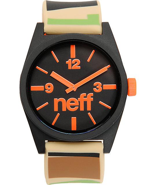 Neff Daily Camo & Orange Analog Watch