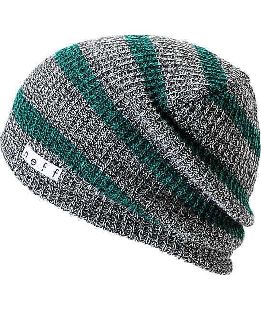 Neff Daily Grey & Green Striped Beanie