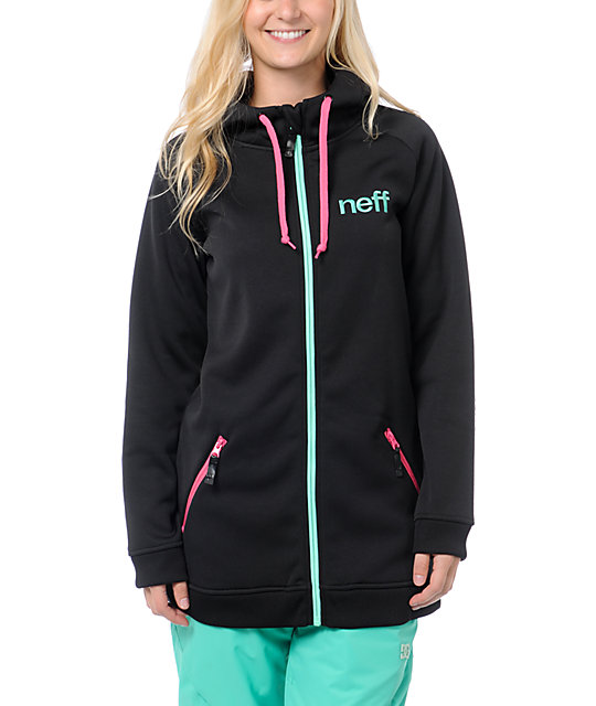 Neff Daily Shred Black, Pink & Teal Tech Fleece Jacket
