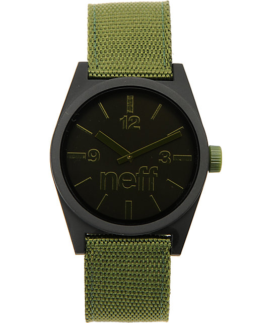 Neff Daily Woven Black & Olive Analog Watch