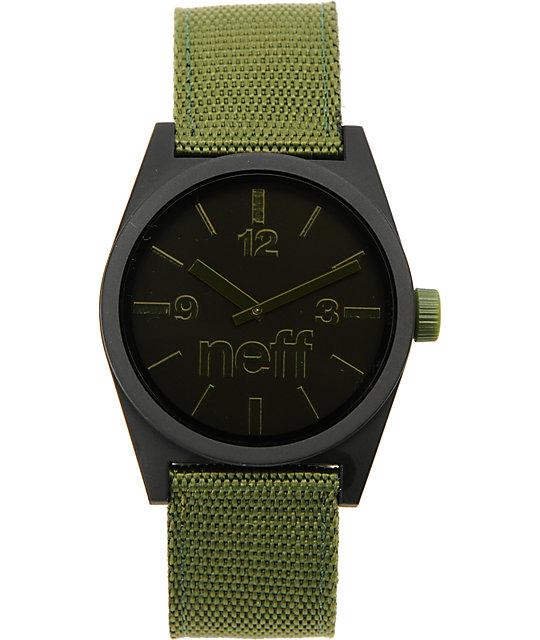 Neff Daily Woven Black & Olive Analog Watch