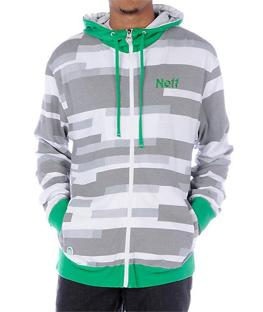 Neff Digi Lightweight Green & White Hoodie