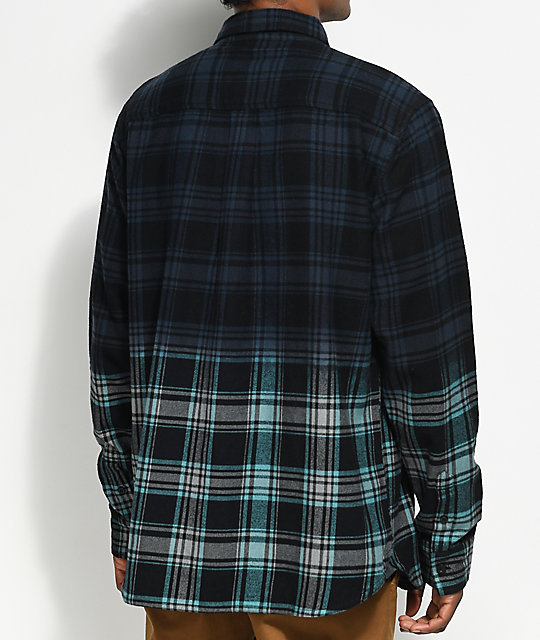 Neff Dip Black & Teal Dip Dyed Flannel Shirt