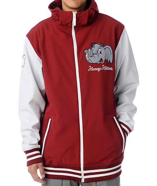 Neff Elephante Red 10K 3013 Varsity Softshell Snowboard Jacket