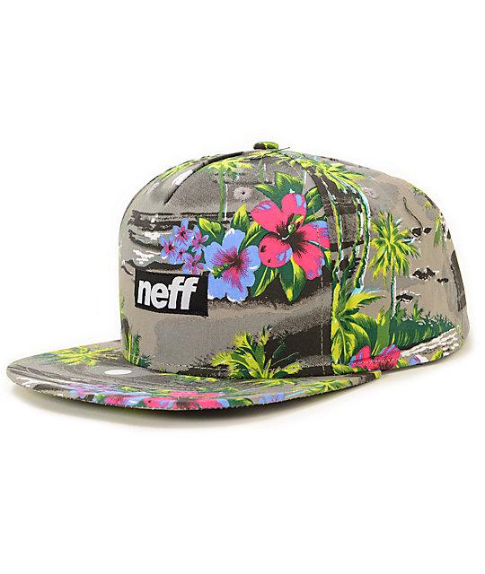 Neff Five 0 Grey & Hawaiian Print Snapback Hat