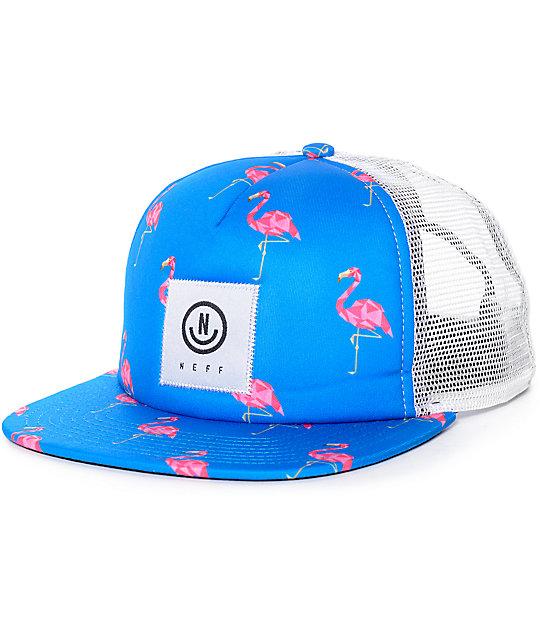 Neff Flamingo White & Blue Trucker Hat