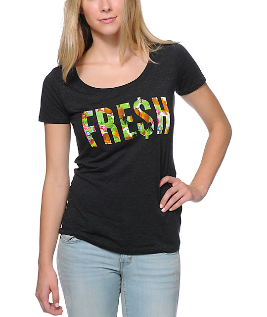 Neff Floral Fresh Heather Black Scoop Neck T-Shirt