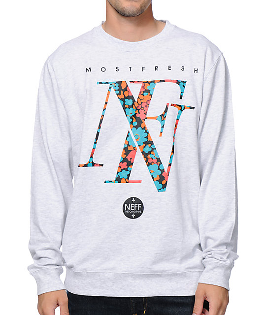 Floral Grey Crew Neck Sweatshirt