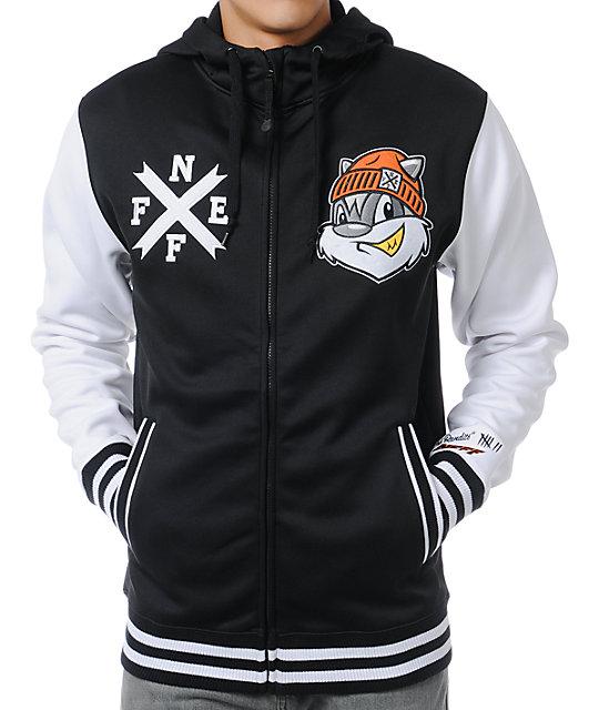 Neff Frosh Black & White Varsity Zip Up Tech Fleece Jacket