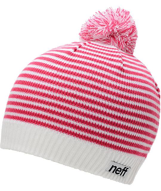 Neff Hazel White & Pink Stripe Pom Beanie