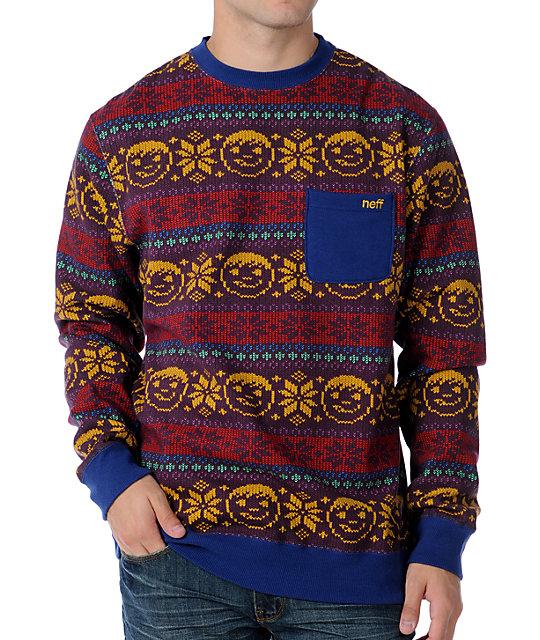 Neff Henrik Purple Crew Neck Sweatshirt
