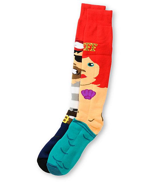 Neff High Seas Red Snowboard Socks