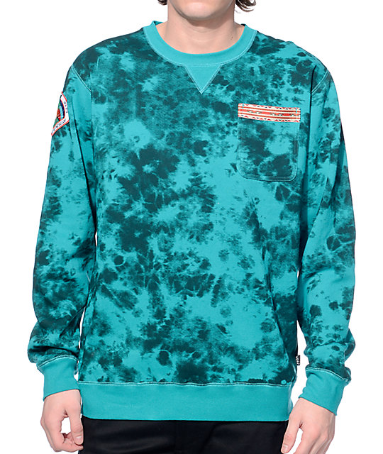 Neff Hill Teal Wash Crew Neck Pocket Sweatshirt