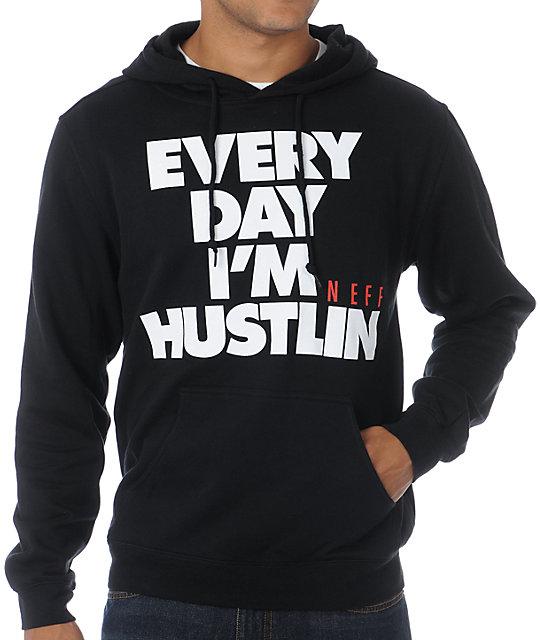 Neff Hustlin Black Pullover Hoodie