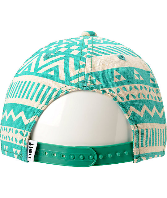 Neff Inca Green & White Tribal Print Snapback Hat
