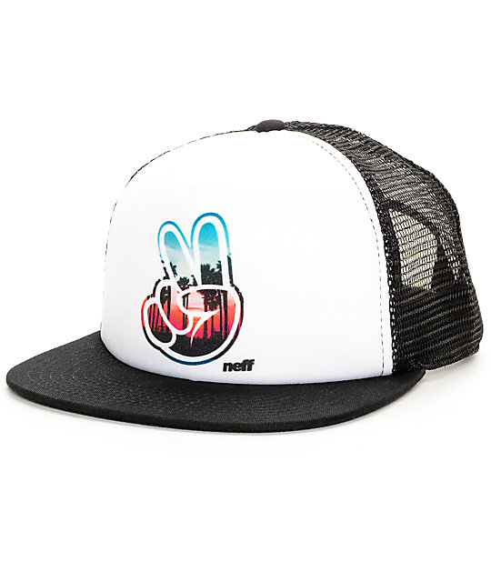 Neff Jackson Peace Black & White Trucker Hat
