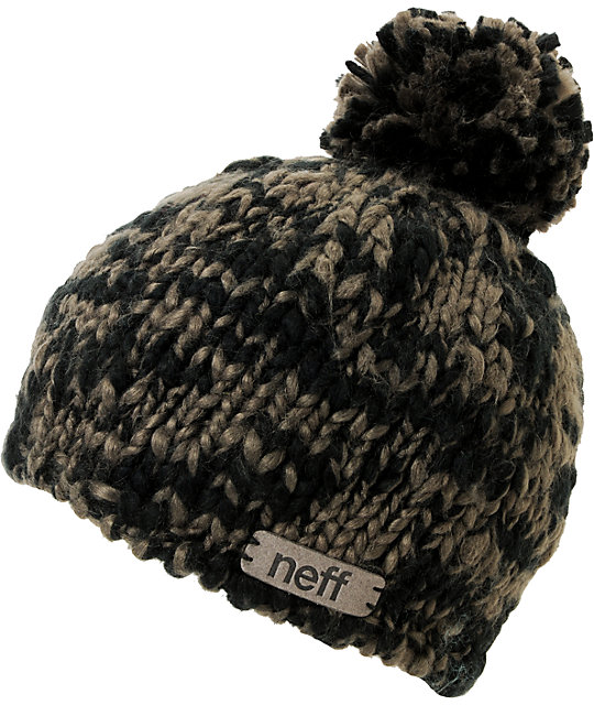 Neff June Black & Grey Pom Beanie
