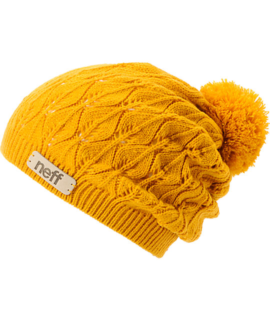 Neff Kelly Gold Crochet Pom Beanie