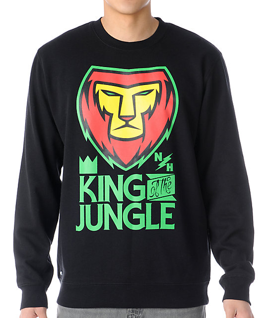 Neff King Crew Black & Rasta Crew Neck Sweatshirt