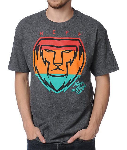 Neff King Lion Charcoal Grey T-Shirt
