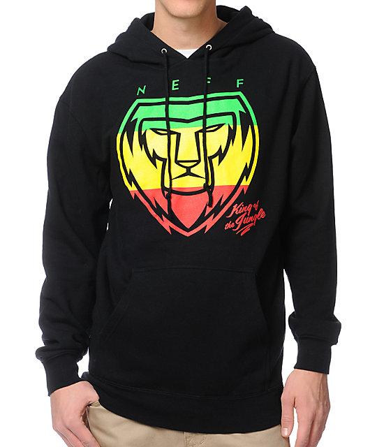Neff King Lion Rasta Black Hoodie