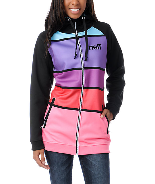 Neff Lucky Black & Multi-Color Stripe Tech Fleece Jacket