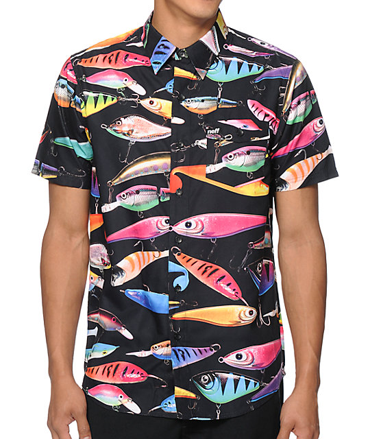 Neff lure button up shirt zumiez for Fish hawaiian shirt