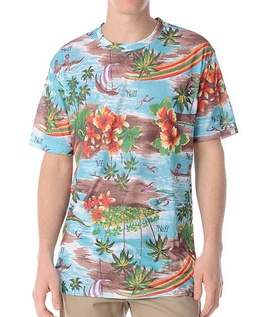 Neff Mahalo Flower Print T-Shirt
