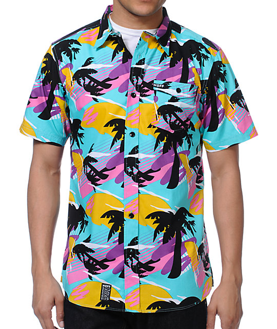 Neff Mr Palms Hawaiian Print Button Up Shirt