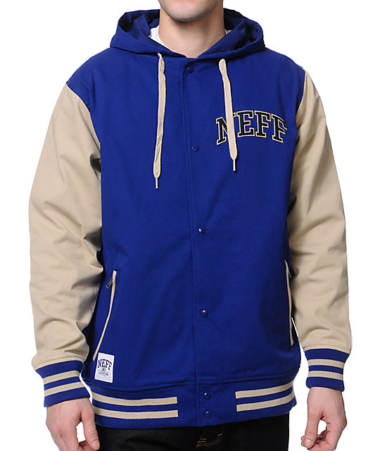 neff navy tan varsity jacket