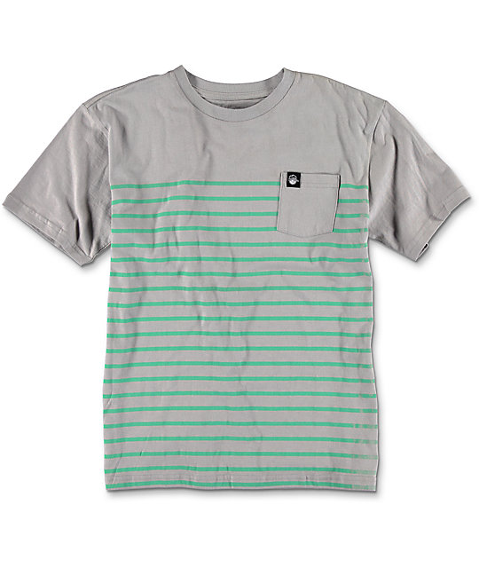 Neff Pocket Striped Boys Grey T-Shirt