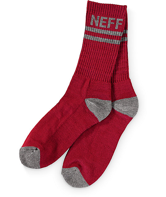 Neff Promo Burgundy & Grey Crew Sock