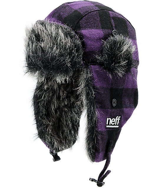 Neff Purple Plaid Bomber Beanie