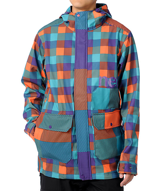 Neff Rad Plaid 10K Multi Technical Softshell Mens Snowboard Jacket