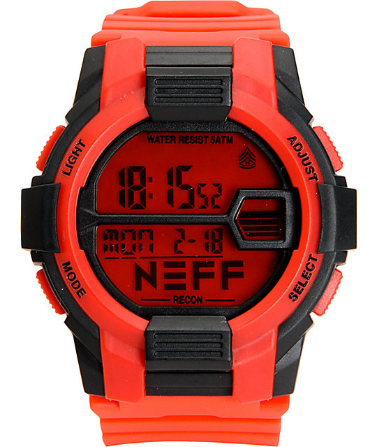 Neff Recon Red & Black Digital Watch