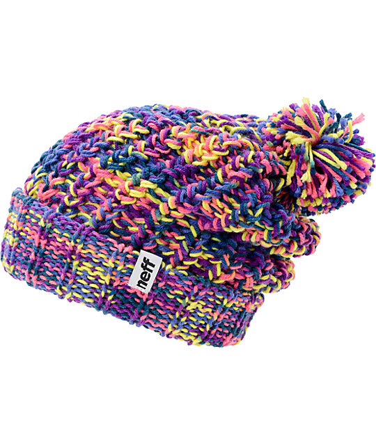Neff Space Purple & Pink Pom Cuff Beanie