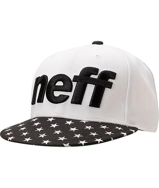 Neff Sport White & Star Print Snappback Hat