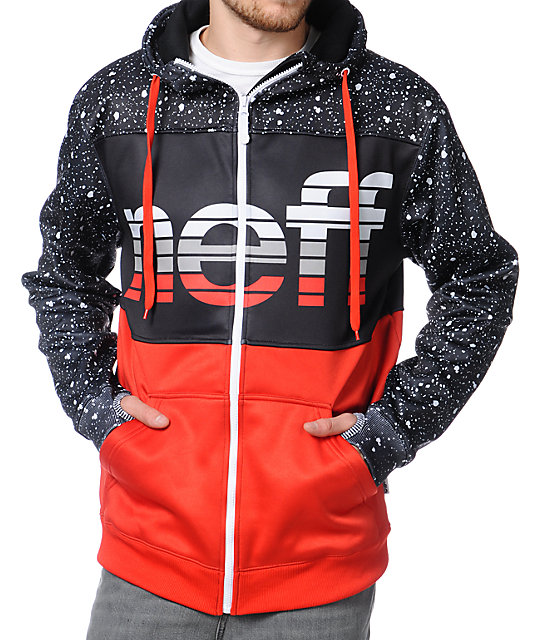 Neff Spritz Black & Red Zip Up Tech Fleece Jacket