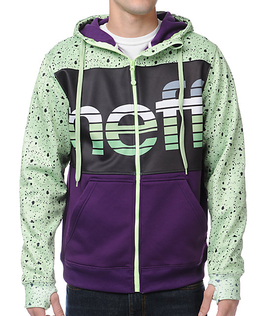 Neff Spritz Purple, Black & Green Zip Up Tech Fleece Jacket