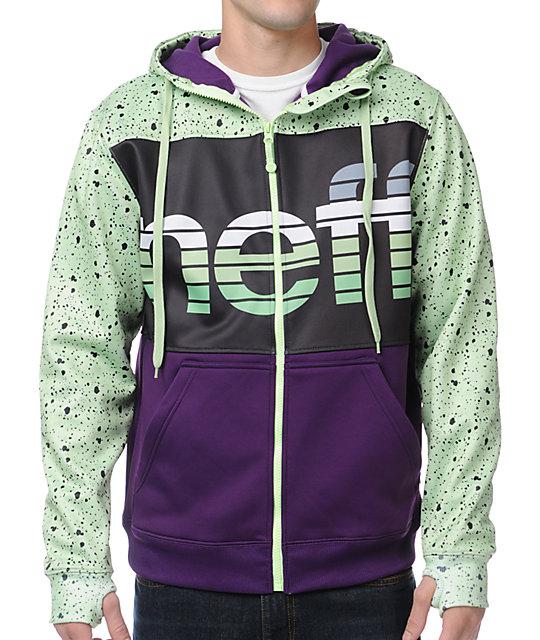 Neff Spritz Purple, Black & Green Zip Up Tech Fleece Jacket