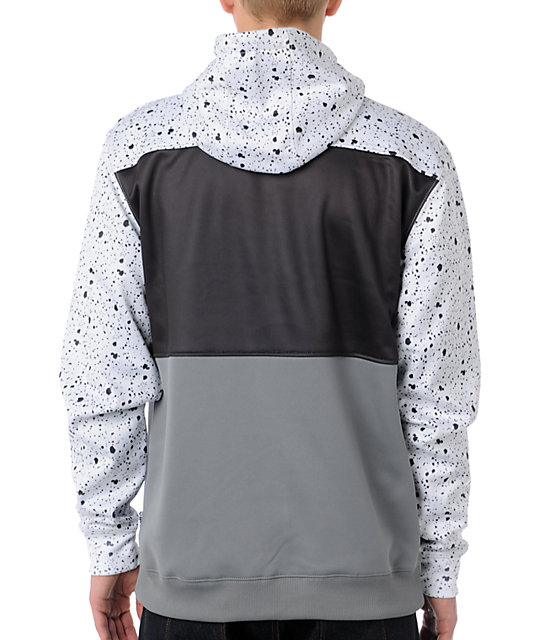 Neff Spritz White, Black & Grey Zip Up Tech Fleece Jacket