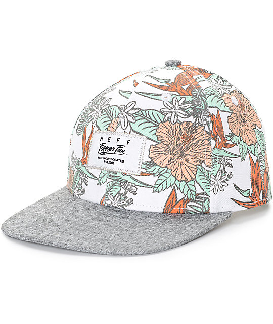 Neff Sprung White Floral Baseball Hat