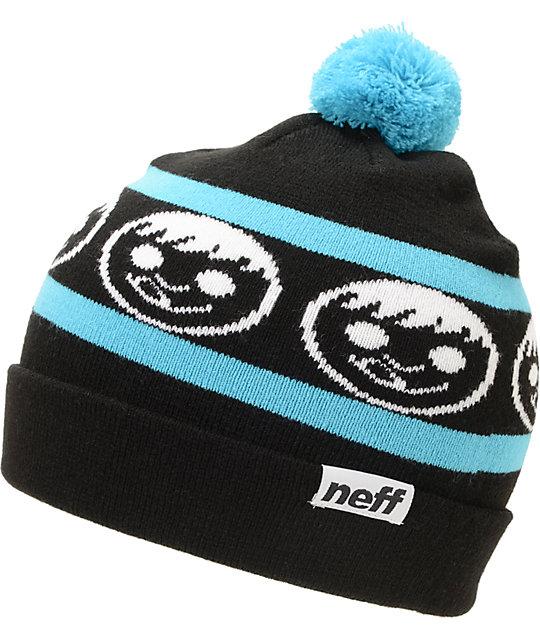 Neff Standard Black & Cyan Pom Beanie