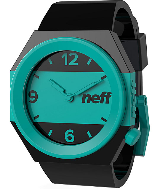 Neff Stripe Black & Teal Analog Watch