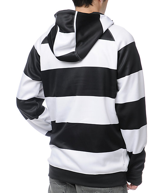 Neff Stripe White & Black Zip Up Tech Fleece Jacket