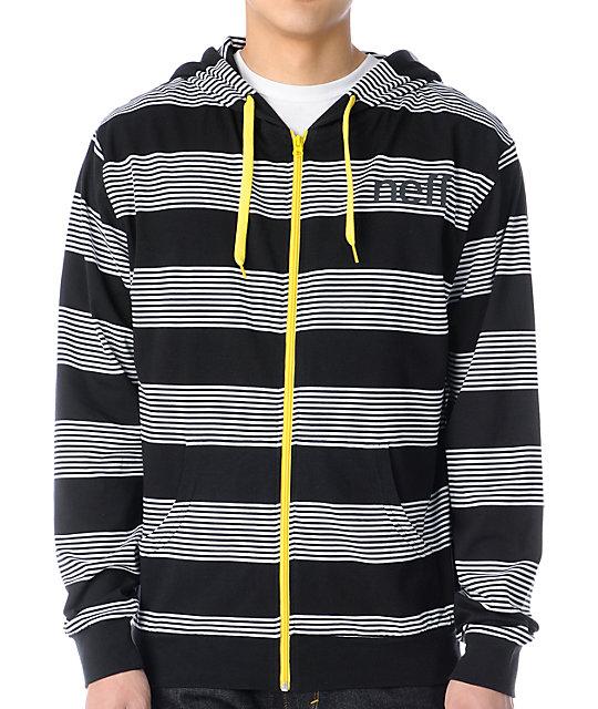Neff Stripey Black & White Zip Up Hoodie