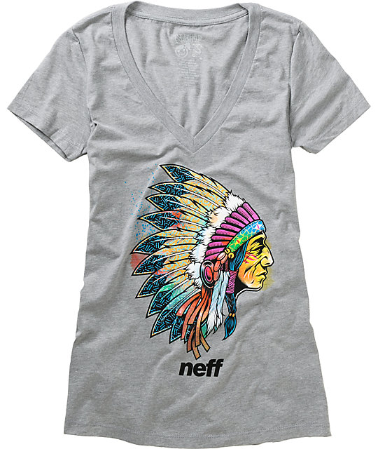 Neff Warrior Charcoal V-Neck T-Shirt